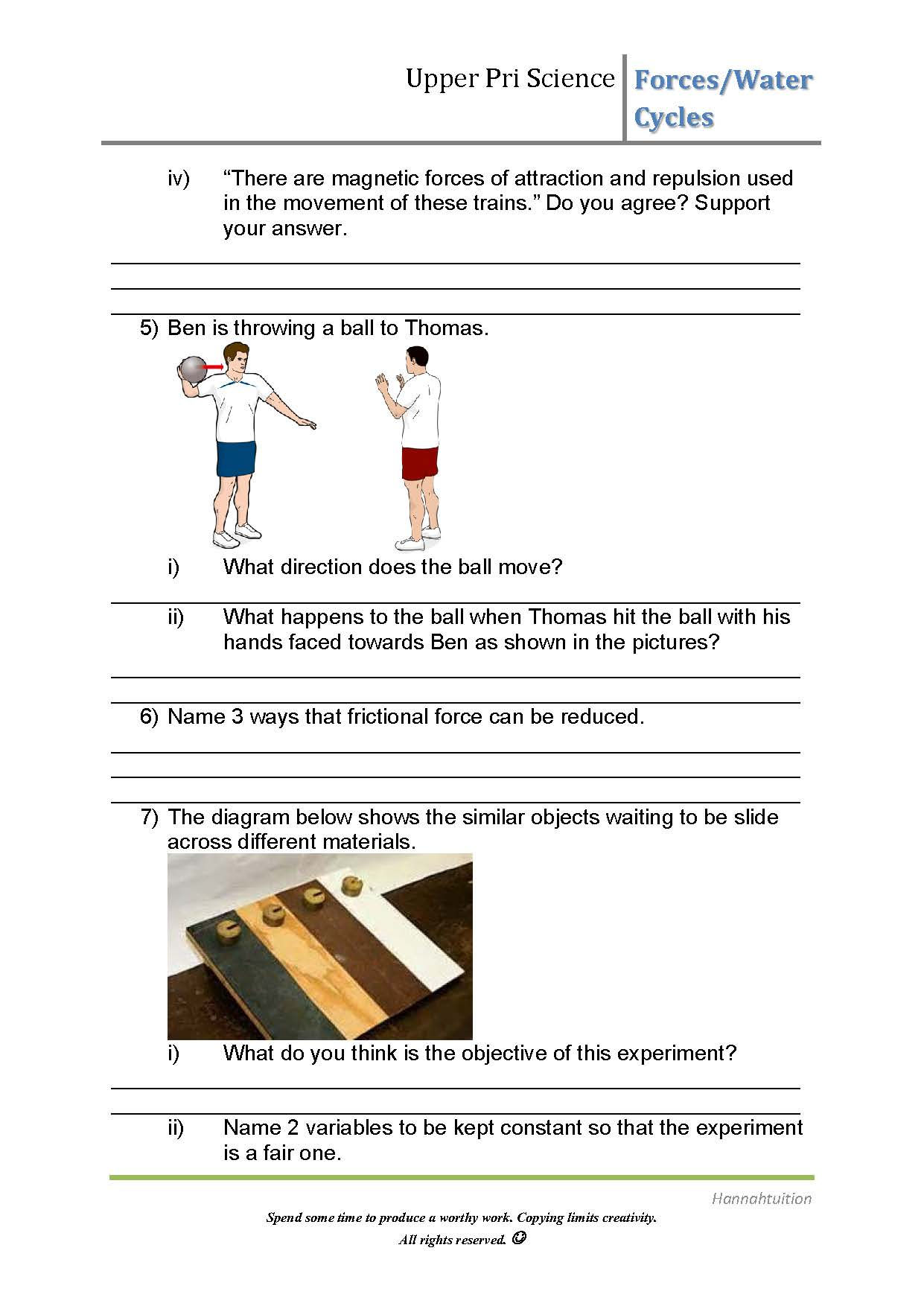 Psle Science Worksheets Forces Water Cycles