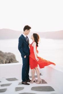 red sunset elopement in Santorini