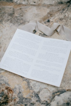 Image of a designer wedding stationery styled and photographed on a wedding day in Metohi Kindelis, Chania, Crete.