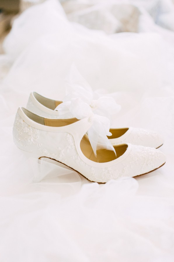 Bridal shoes photographed on a wedding day in Crete.