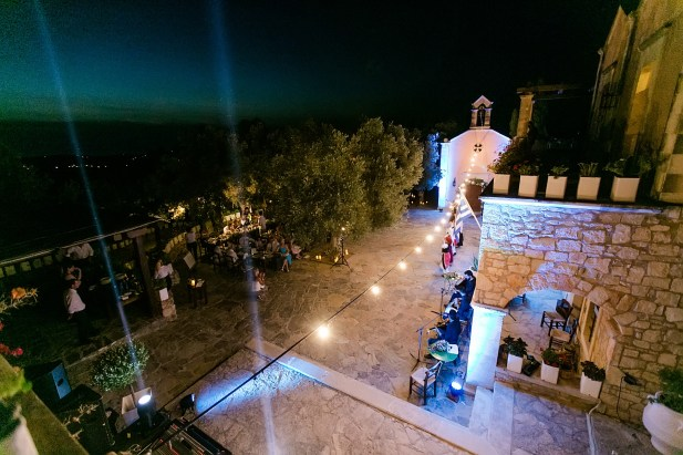 Night view of the wedding reception setup in Agreco Farm, Crete, Greece.