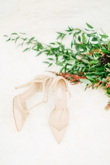 Bridal shoes and flowers for Mykonos wedding.