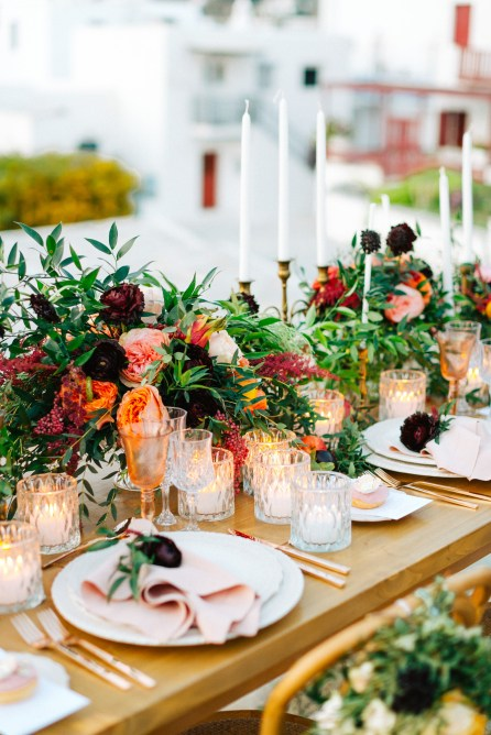 Wedding table decoration set up in Mykonos island, Greece.