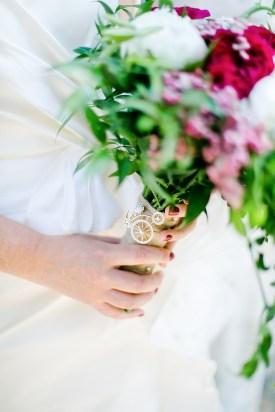 Detail of a bridal bouquet.