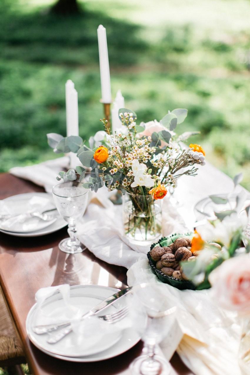 Destination wedding table setup in Greece