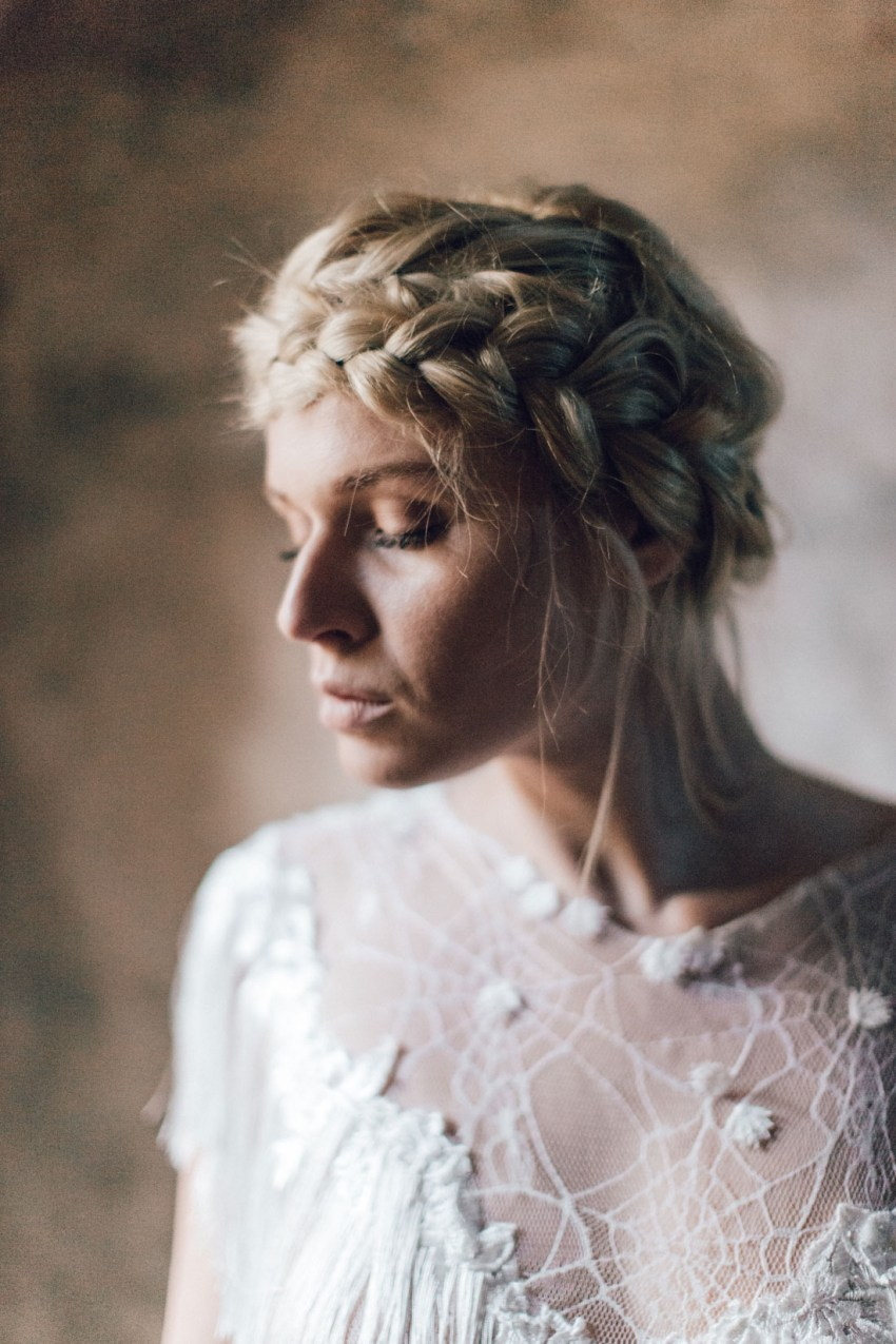 Bride styled for romantic wedding in Greece