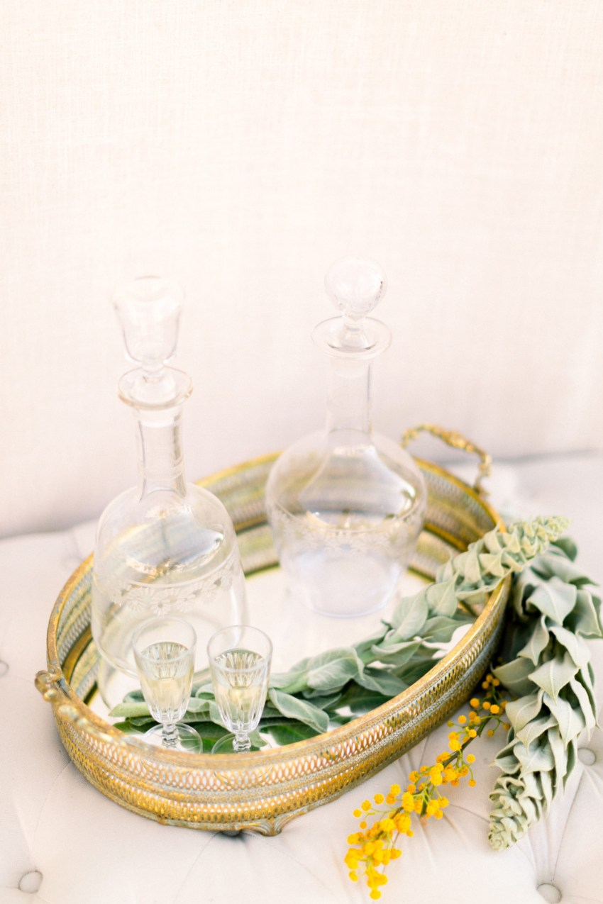 Luxury wedding details and styling for a white villa wedding inspiration session in Loyal Villas Luxury, Mykonos, Greece.