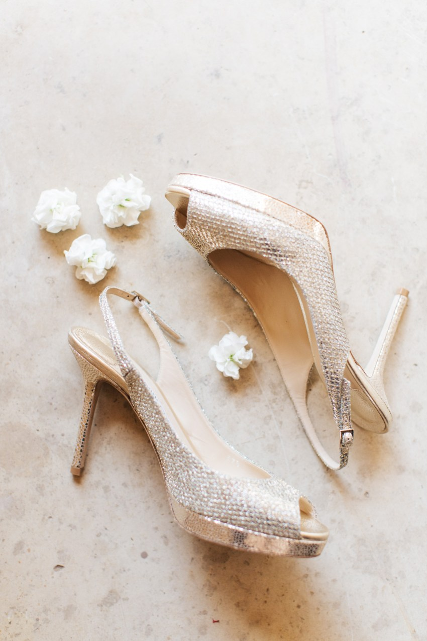 Wedding details in Crete - bridal shoes by Jimmy Choo.