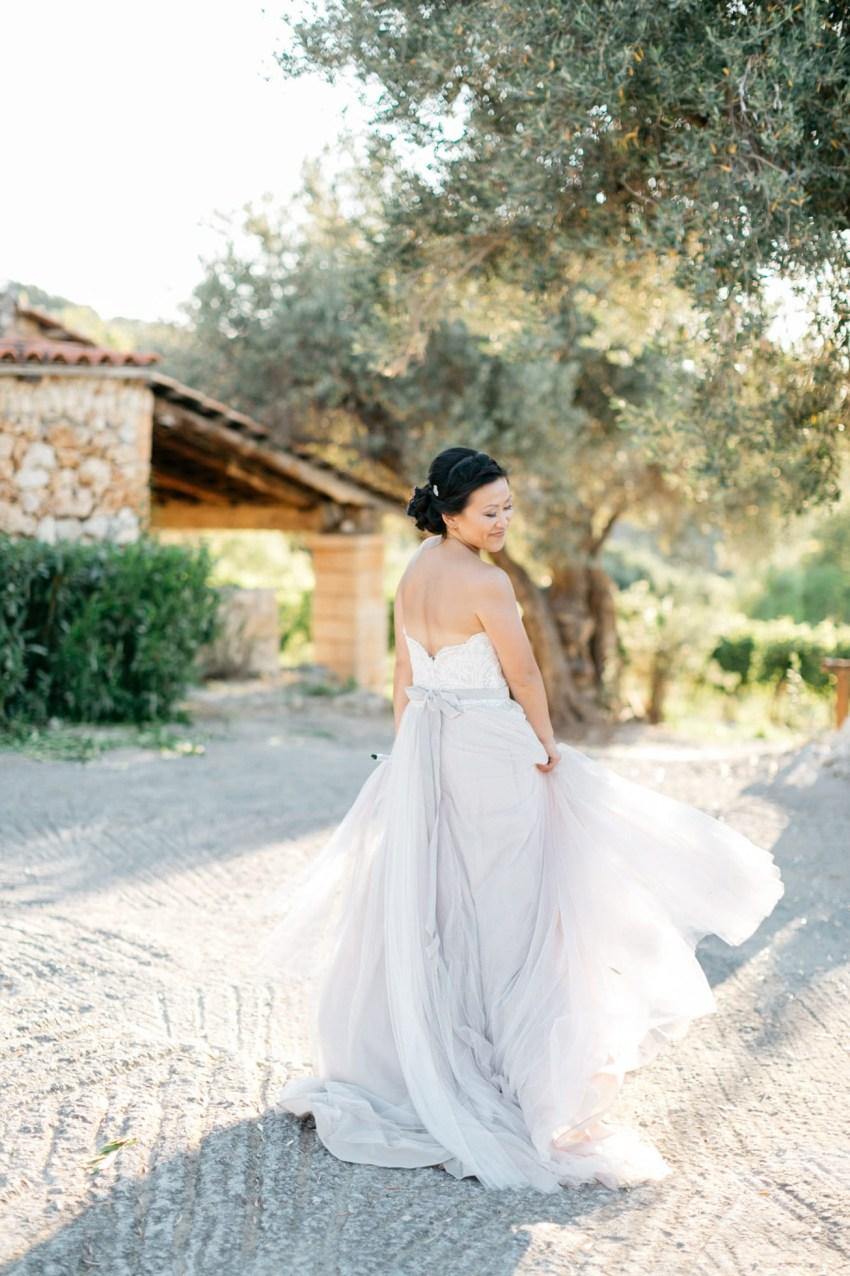 Elegant bride at her destination wedding in Agreco Farms, Grecotel, Crete, Greece