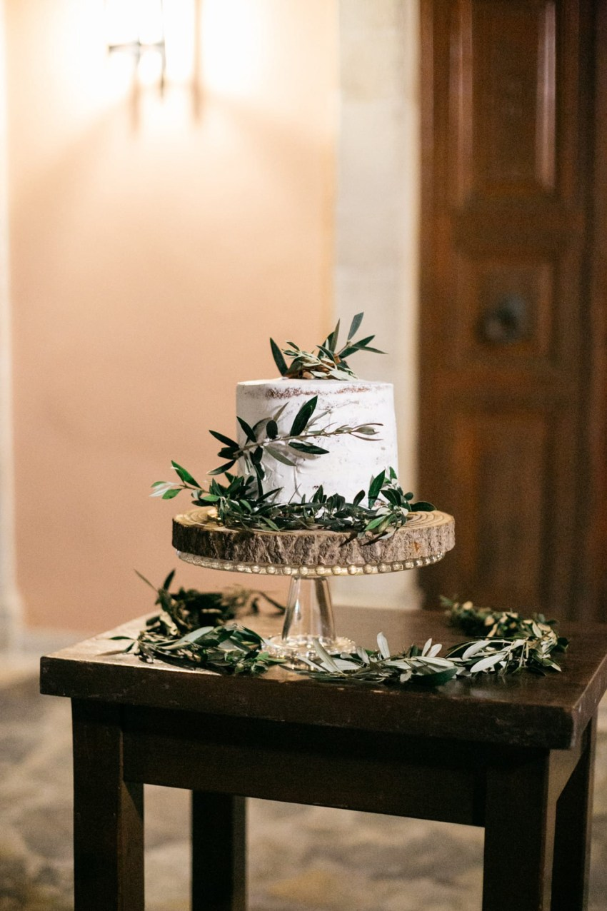 Wedding cake cut in Agreco Farms, Grecotel, Crete, Greece.