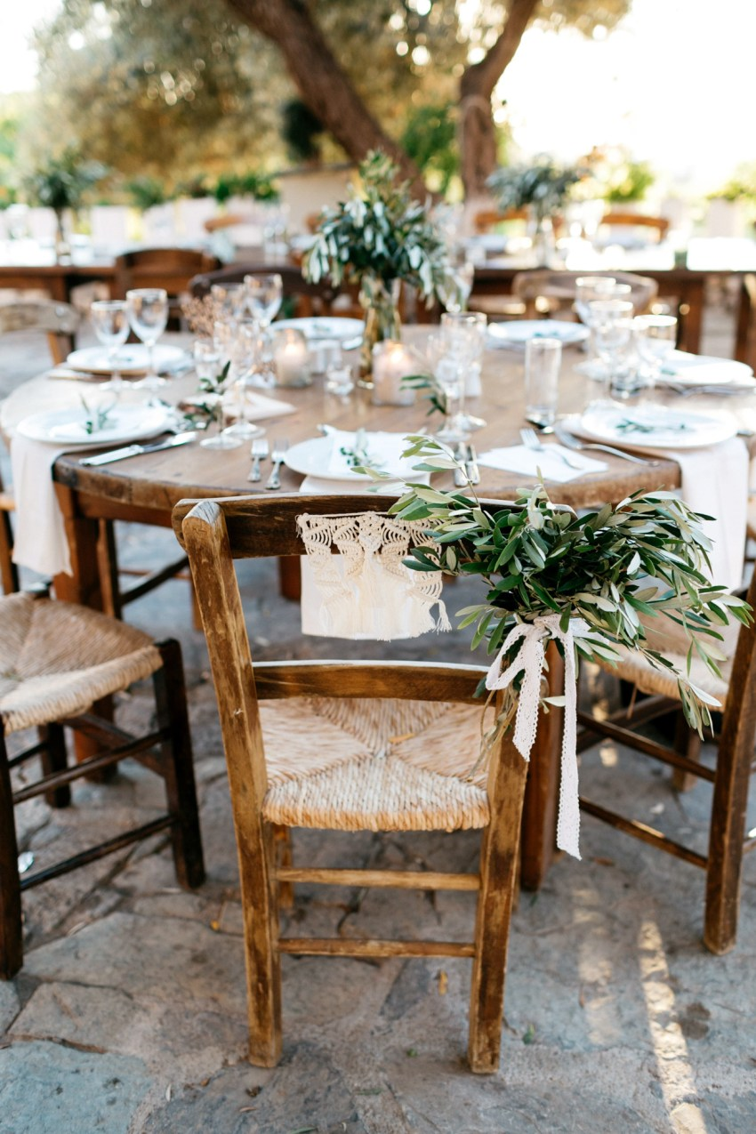 Wedding dinner setup and details in Agreco Farms, Grecotel, Crete, Greece.