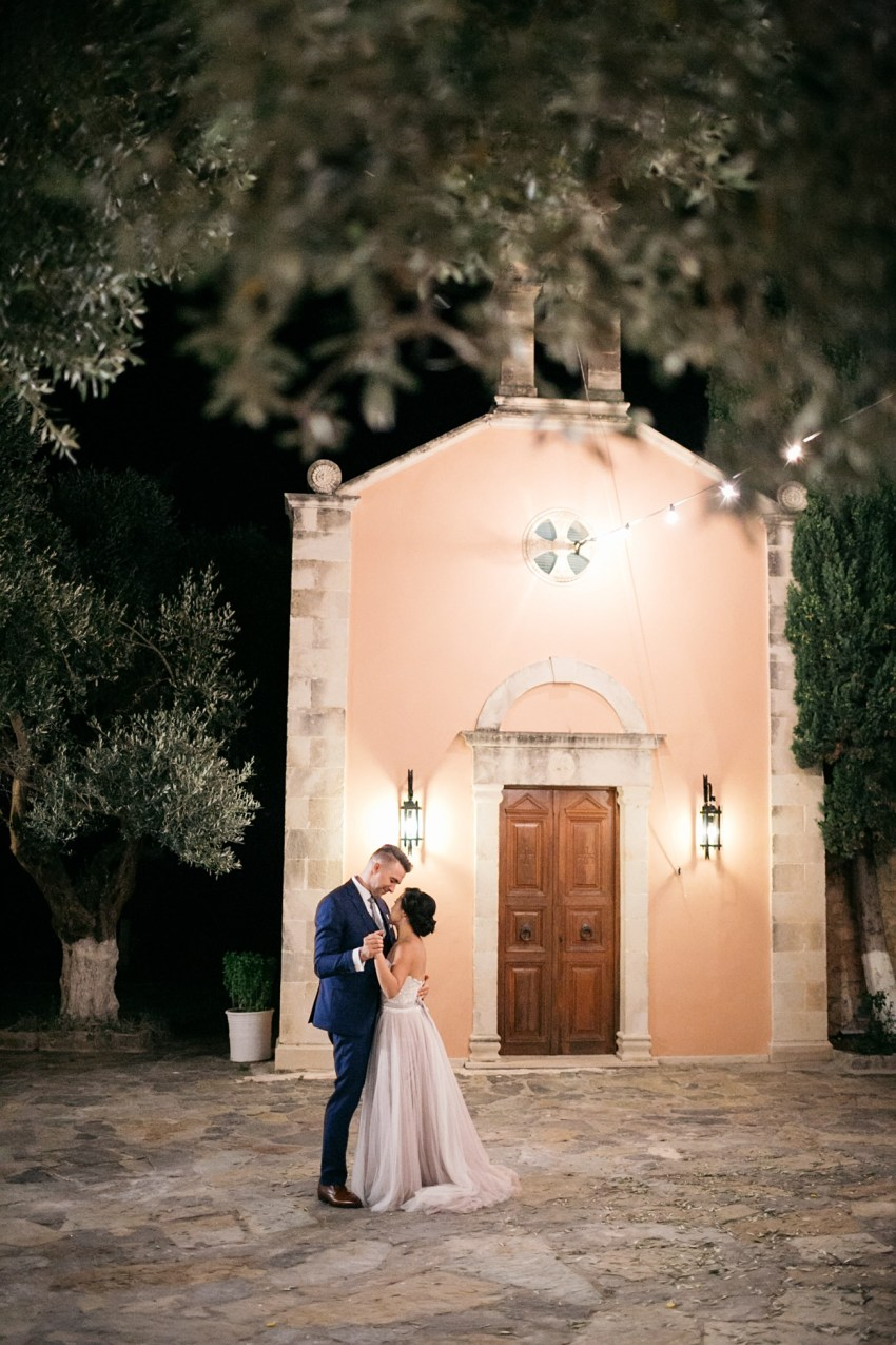 First dance of bride and groom as Mr. and Mrs. in Agreco Farms, Grecotel, Crete, Greece.