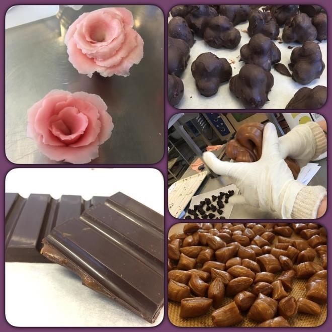 Idag har vi fått göra marsipanmodellering, gräddkarameller, chokladkakor med toffeefyllning och tvillingnötter ?? supergott