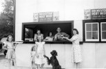 Marvin and Mabel Treutel and family at their roadside root beer stand in Nekoosa, Wisconsin.