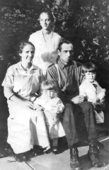 The uncropped version of the photo shows Ruby V. Treutel standing at rear. Mary and Walter Treutel are seated. In front are Marvin and Nina Treutel. Read more: http://wp.me/p4FxQb-B3