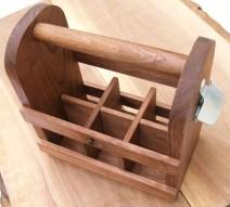 Walnut wood six pack holder