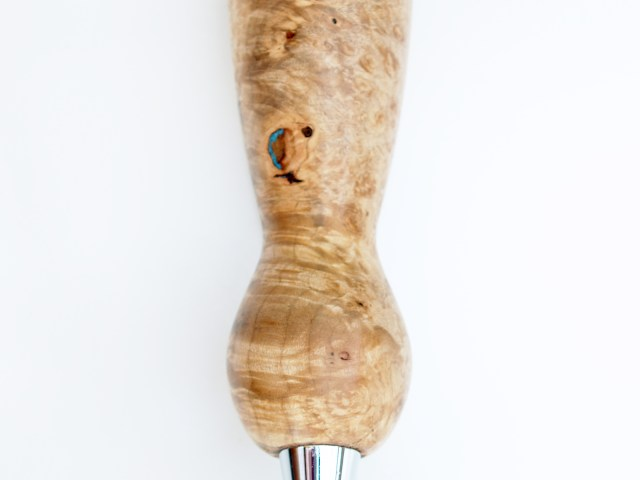 Maple burl beer tap handle with turquoise accents