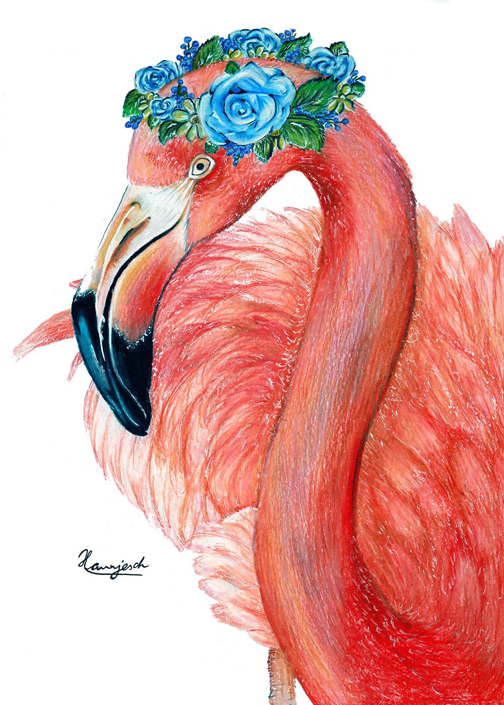 Flamingo Zeichnung mit blauen Blumenkranz