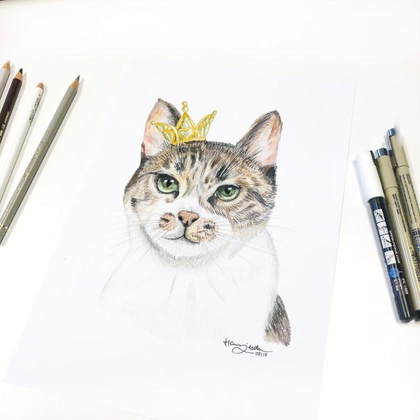 Animal Portrait Drawing Cat Beanie