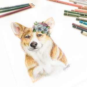 Corgi Mixed Media Zeichnung