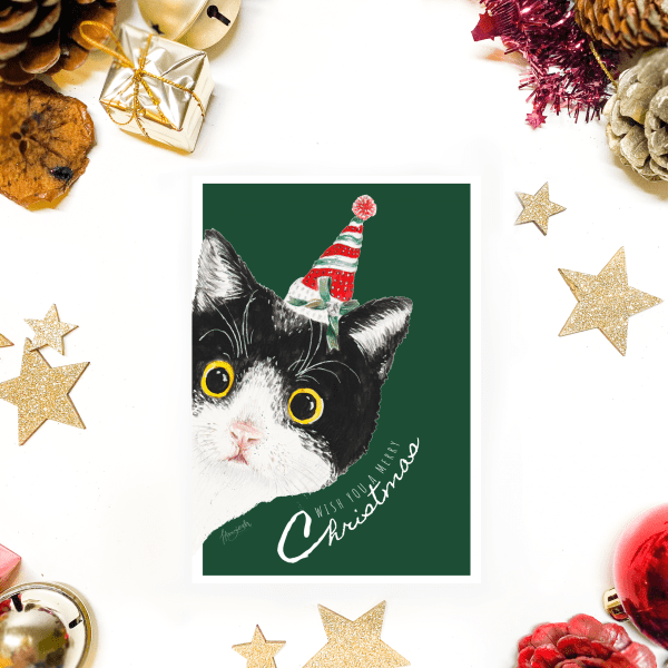 Christmas postcard with cat and hat
