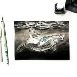 Original Inktober Drawing Humpback Whale