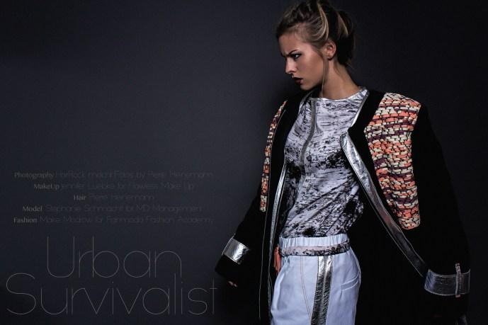 Model Stephanie Schmachtl als Urban Survivalist vor der Kamera von Pierre Heinemann.