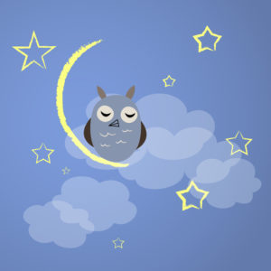 Night owl with yellow moon and stars. Vector illustration