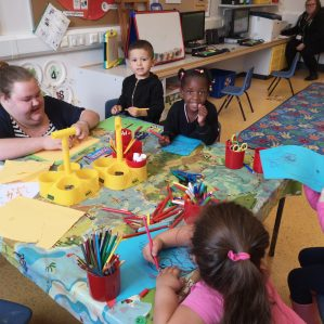 Learning about colours and shapes in the nursery.