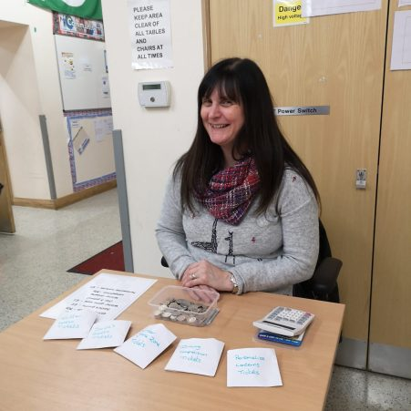 Mrs Glendinning at the ticket office, smiling as always!