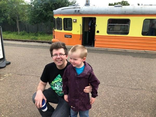 Helga the orange and yellow Swedish Rail Car