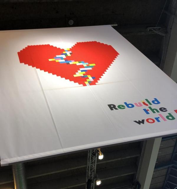 Rebuild The World Lego Banner at Lego World in Copenhagen