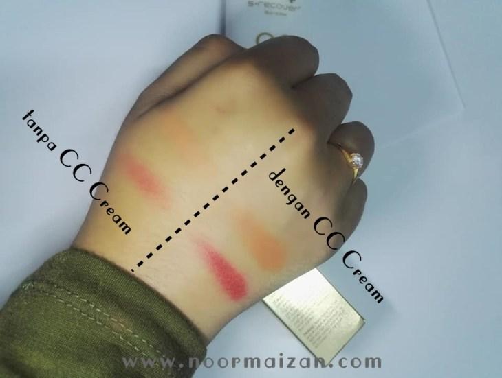 Testing tanpa atau dengan Gold Nano CC Cream Hansaegee Nature