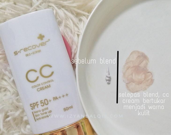 Sebelum and selepas blend CC Cream
