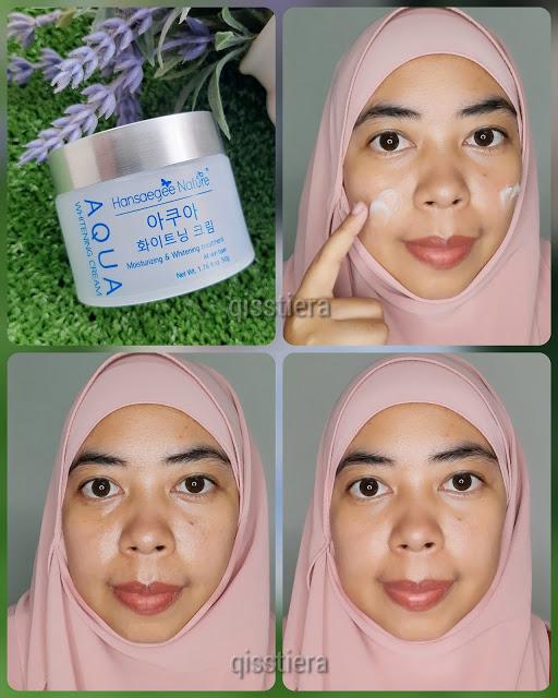 Cara guna Aqua Whitening Cream Hansaegee Nature
