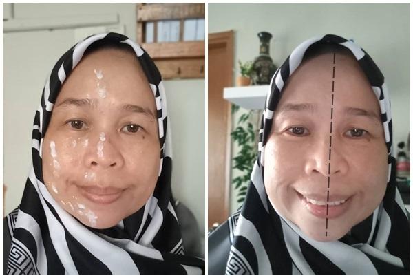 perbezaan warna kulit muka selepas pakai