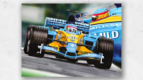 Airbrush painting Fernando Alonso Renault F1 2003