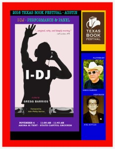 I-DJ poster for 2016 Texas Book Festival