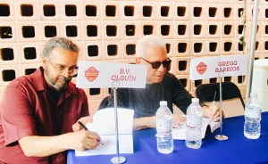 B.V. Olguin and Gregg Barrios signing books at 2017 San Antonio Book Festival