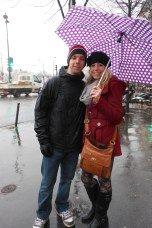 me and tyler braving the rain