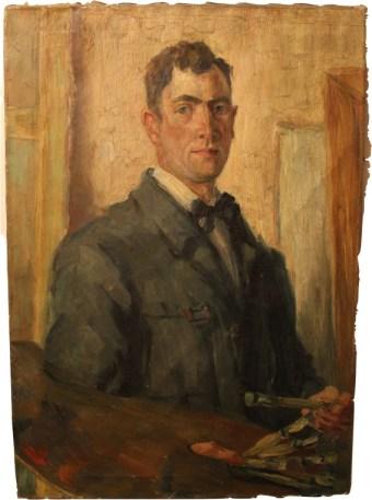 Erstes Selbstportrait, 66/94 cm, 1919. Ausgestellt Januar 1920 im Kunstverein München
