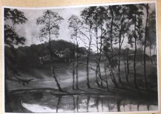 """""""Abendstimmung am Dorfsee"""" mit Blick auf die Bastion. 53/73 cm, 1935"""