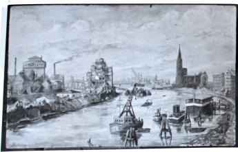 Das ehemals schöne Bremen, 1947, 54/85 cm, Pressholztafel