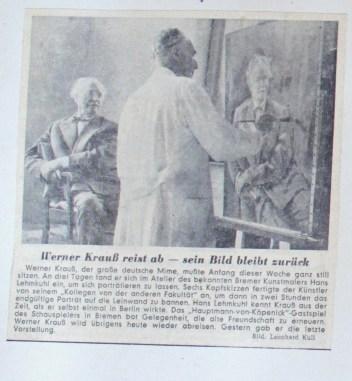 © Zeitung unbekannt, 1954, Werner Krauss reist ab - sein Bild bleibt zurück, Autor ohne Angabe, Bild Leonhard Kull.