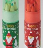 クリスマスシャープナー付き色鉛筆(6本入)