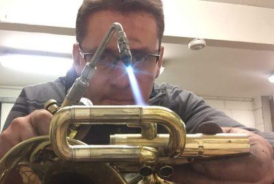 Alastair building a custom saxophone