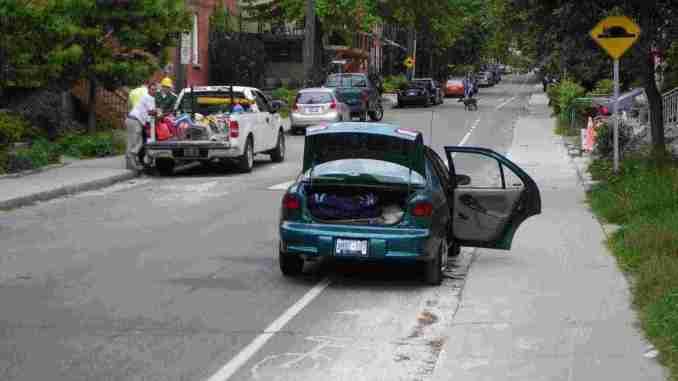 blocked bike lane in Ottawa