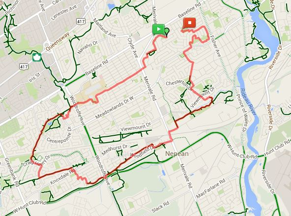 2014 Nepean map bike route 19 km – Open Streets