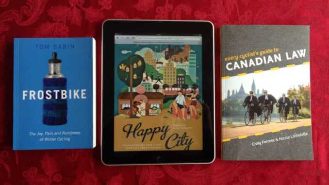 Canadian books about cycling: FrostBike, Happy City and Every Day Cyclist's guide to Canadian law