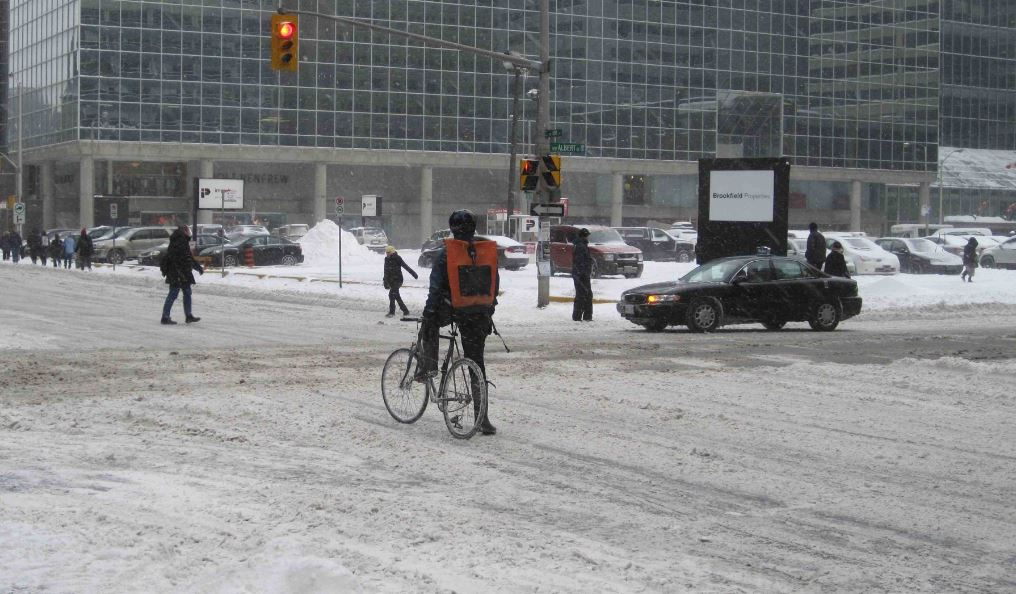photo: Winter cyclist on Kent at Albert in 2011.